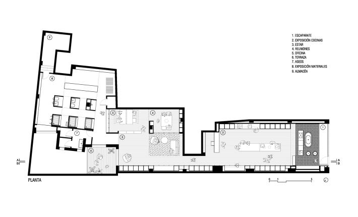 Plano de OAK Showroom - Imagen de AEB